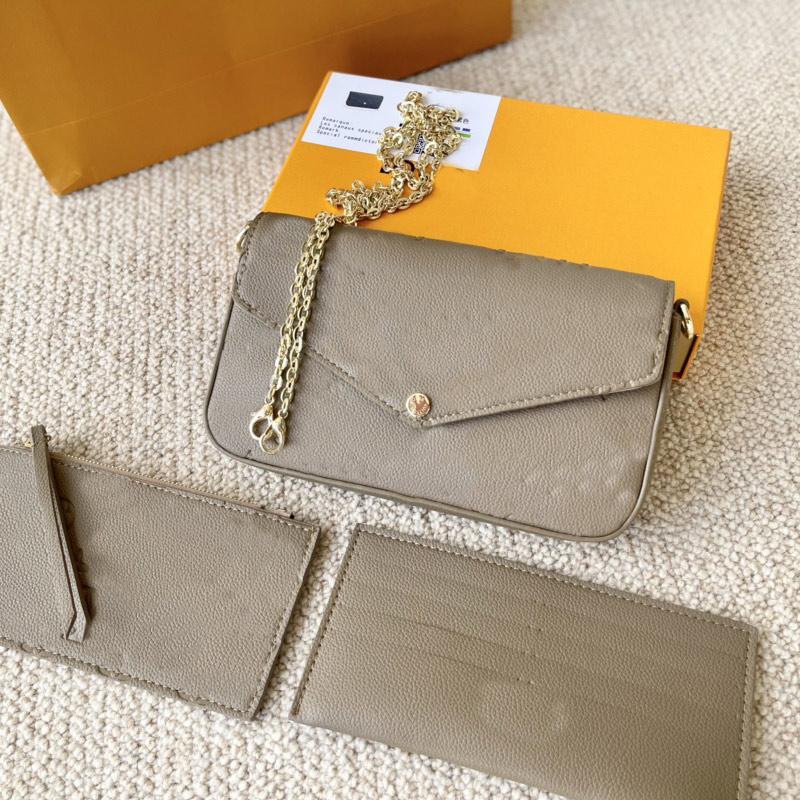 Women Handbag Chain Shoulder Bag Wallet 3pcs Set Multi Pochette Clutch Crossbody Bags Classic Embossed Letter Genuine Leather High quality Hardware Handbags Purse