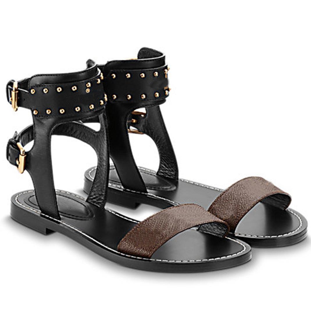 Klasik Bayan Yaz Terlik Sandal Çarpıcı Gladyatör Deri Taban Düz Zincir Terlik Slaytlar Tuval Düz Sandalet Ayakkabı