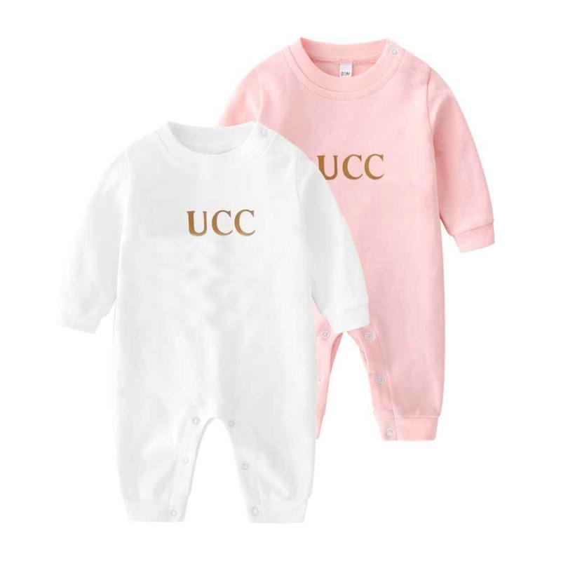 새로운 2021Summe 패션 편지 아기 소년 옷 화이트 핑크 그린 긴 소매 브랜드 신생아 아기 소녀 Romper 0-3 개월