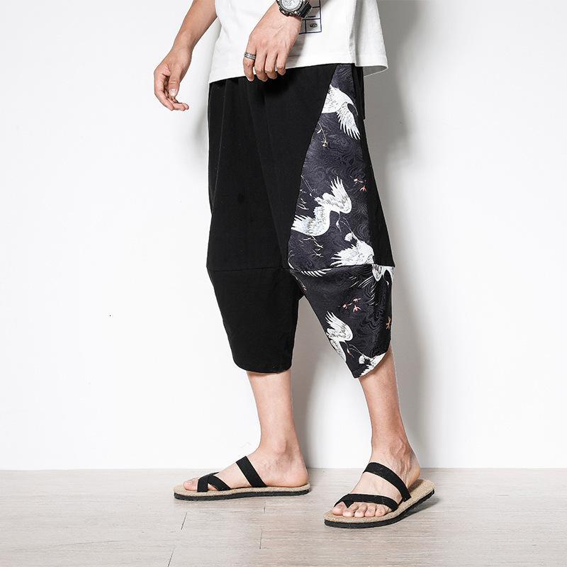 Herren Shortsme's Shorts 21 Casual Leinen Shorts Trend Lose Hosen Frühling und Sommer Baumwoll Hanf Herren Thin Capris Mode