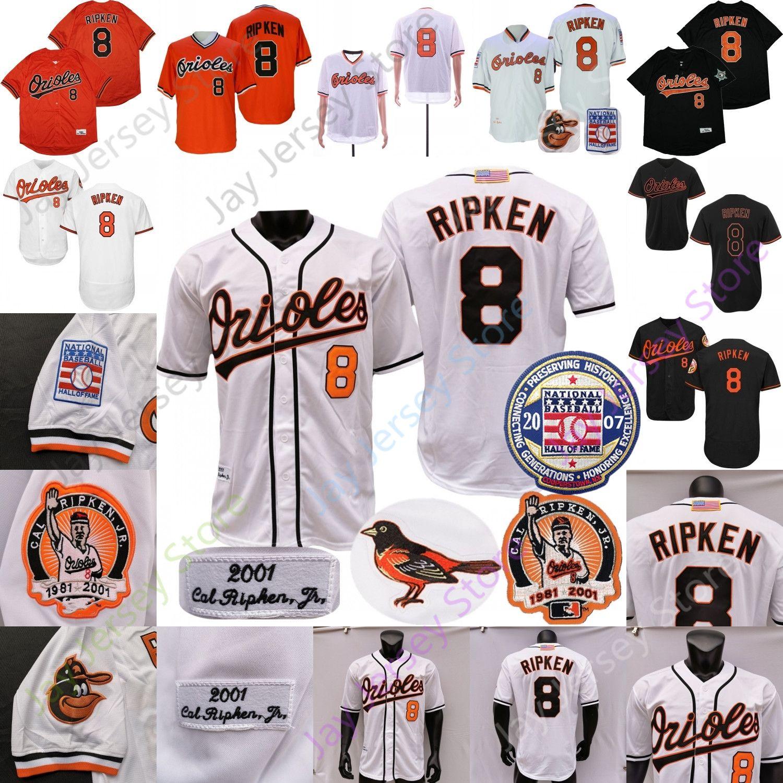 Cal Ripken Jr Jr. Jersey 2007 Hall of Fame 1975 1989 2001 Botão de pulôver laranja preto branco vintage Away todos costurados e bordados