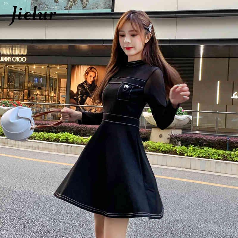Nuove donne nere Dress Dress Sexy Mesh Elegante Lady Lady Vestidos Verano Moda coreana Kpop A-line Dress per le donne S-XXL 210414