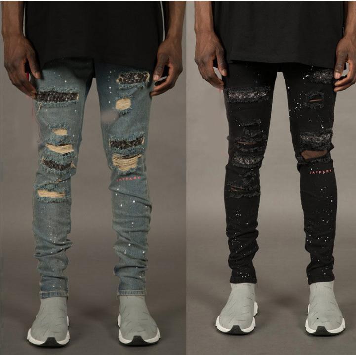 Sonbahar moda kırık delikli erkekler için tasarımcı fermuarlar kot pantolon kaykay kalem bisikletçinin denim pantolon