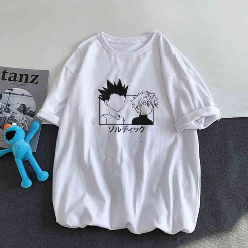 Janpanais anime chasseur x chasseur T-shirt hommes coton été graphic tees unisexe killyck gon t-shirt imprimé gon tops 210301