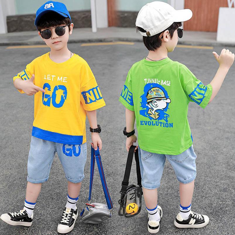 Kids Clothing Sets Boy Suit Boys Outfits Child Clothes Summer Cotton Short Sleeve Letter T-shirts Pants Shorts Jeans Casual 2Pcs 3-8Y B5180