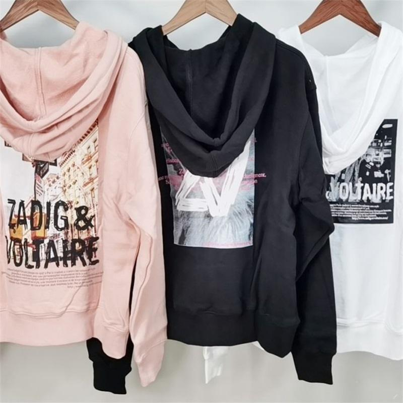 2021 zadig المرأة هوديي sweather طويلة الأكمام المطبوعة 3 اللون مع الرباط فضفاض غريبة الوردي الأسود الأبيض ZV216103