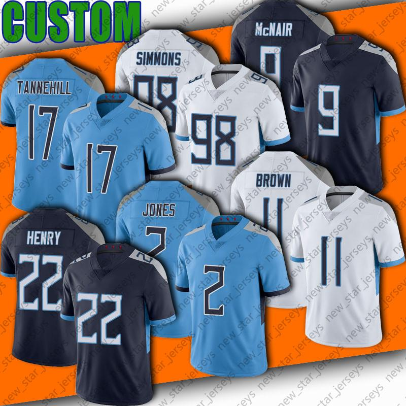 "2 Julio Jones 22 Derrick Henry 17 Ryan Tannehill Jersey 11 a.J. Brown Tennessee ""Titans"" 48 Bud Dupree Jerseys Kevin Byard Taylor Lewan Anthony Firkser Simmons"