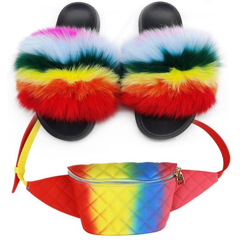 Slides de pele de menina lady lady slippers mulheres fanny pacote saco conjuntos crossbody bolsas moda geléia flip flops