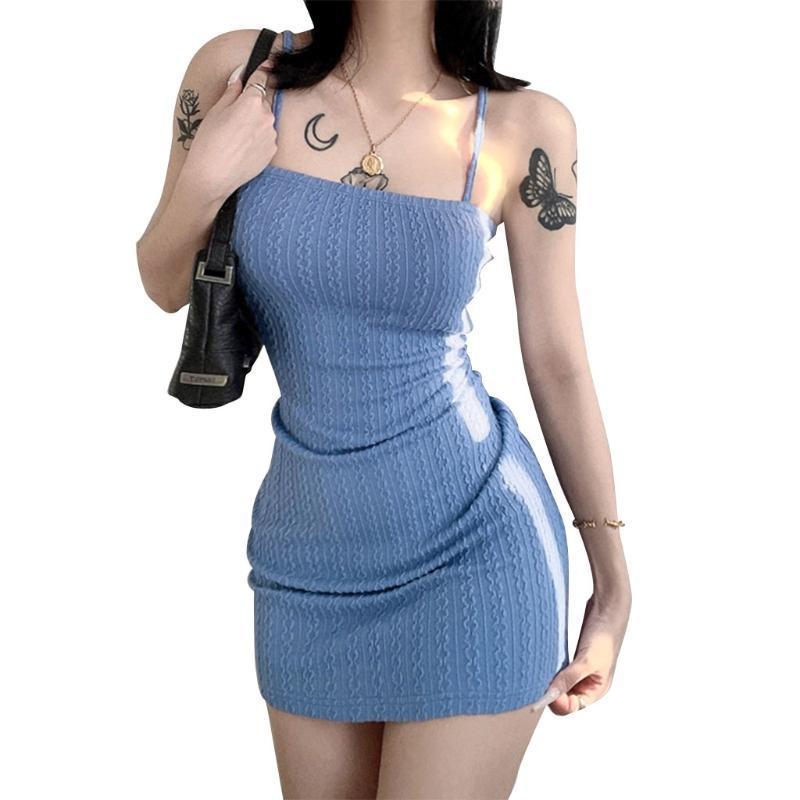 المرأة ملابس النساء مثير السباغيتي حزام محبوك bodycon البسيطة كامي اللباس الصلبة اللون الكروشيه مخطط نمط حزمة الورك عالية الخصر حزب