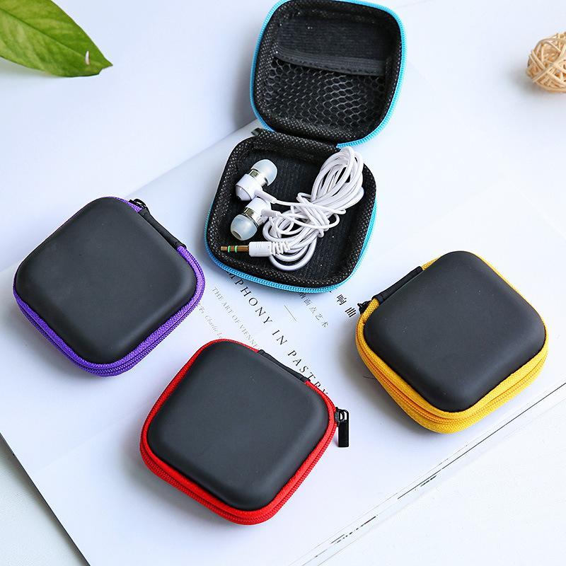 Caso de fone de ouvido PU Couro Earbuds Bolsa Mini Zipper Caixa de Fone de Ouvido Protetora Cabo USB Organizador Fidget Spinner Stor 1149 v2