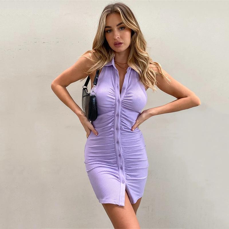 2021 vestidos casuales sexy abiertos abiertos plisados sin mangas sin mangas cárdigan de pecho falda de cadera