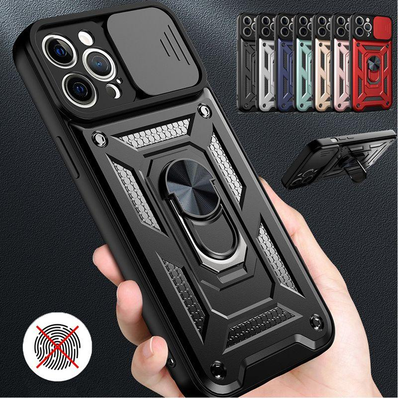 Slide Camera Lens Protection Military Cases Grade Bumpers ArmorMagnetic Ring Stand For MOTO G9 G Stylus Play Power 2021 G30 G60 G100 Edge S LG K52 K22 Stylo 7 4G 5G