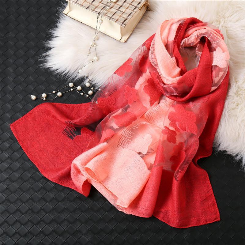 MANTILLOS 20 PLUM BLOSSOM Gradient Organza de la mujer Seda como la toalla de la playa de protección solar