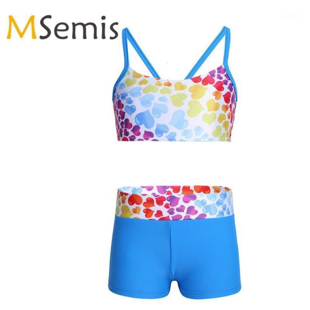 2 stücke Kinder Mädchen Gymnastik Swimsuit Crop Tops Tankini Tops mit Böden Herzförmige Bowknot Zurück Mädchen Bademode Badeanzug Set1