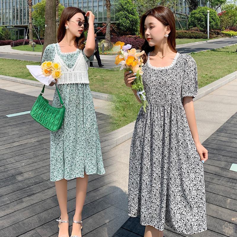 여름 출산 꽃 2 피스 드레스 정장 스트랩 레이스 탑스 + 반소매 쉬폰 임신 Twinset 옷 세트 드레스