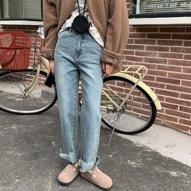 Весна 2021 Корейский стиль Высокая талия прямая широкая нога джинсы женские свободные дамы джинсовые брюки плюс размер полной длины брюки женские