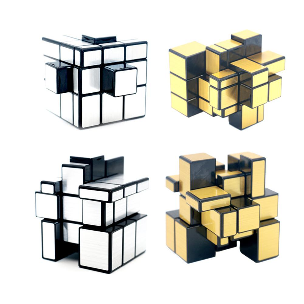 새로운 QIYI 미러 큐브 3x3x3 마술 스피드 큐브 실버 골드 스티커 전문 퍼즐 큐브 장난감 어린이 미러 블록