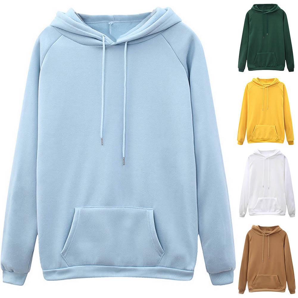 Sweatshirt de suéter con capucha deportes para mujer casual color sólido de manga larga bolsillo suelto cordón sudaderas top jersey hombres