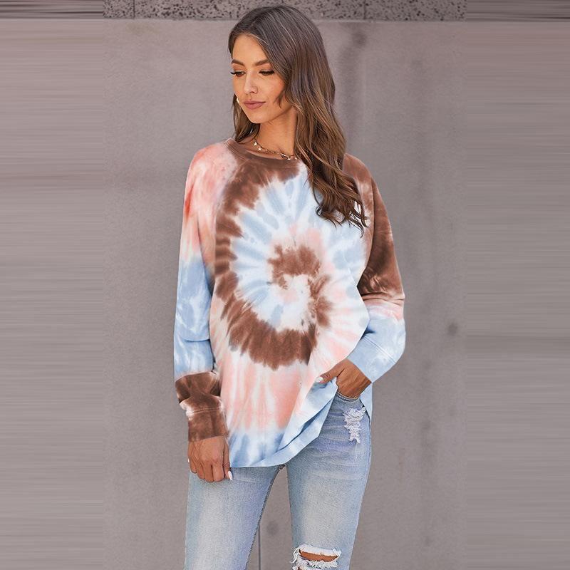 Damen Hoodies Sweatshirts Casual Unregelmäßiger Tie-Farbstoff Gedruckt Rundhals-Top-Hoodie (hohe Qualität) bis zu 50% Rabatt auf