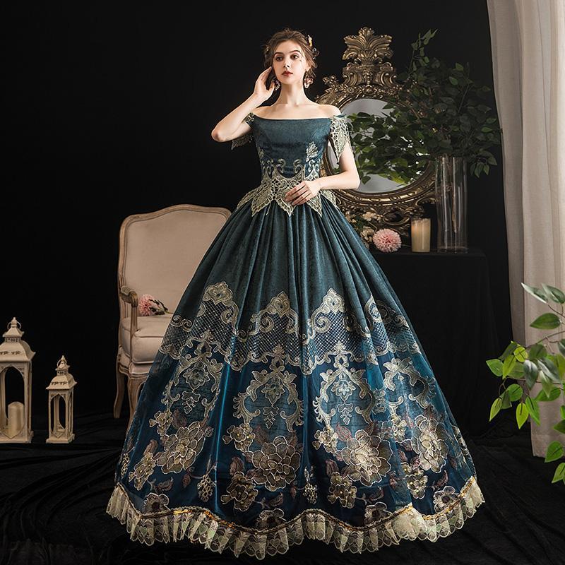 2021 Marie Antoinette Prinzessin Party Kleid Kleid Kostüme Mittelalterliche Slash-Hals Kurzarm Theater Kleider Custom