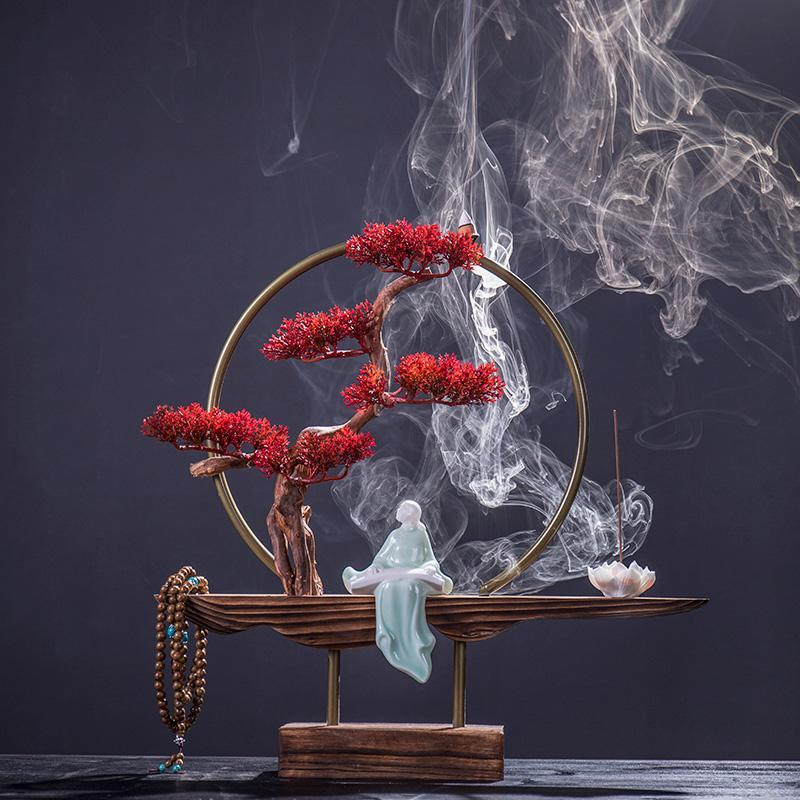 Großer keramischer Rückflusshalter Räucherbrenner Set Brunnen Rauchstöcke Quemador de Incienso Aroma BK50xx Duftlampen