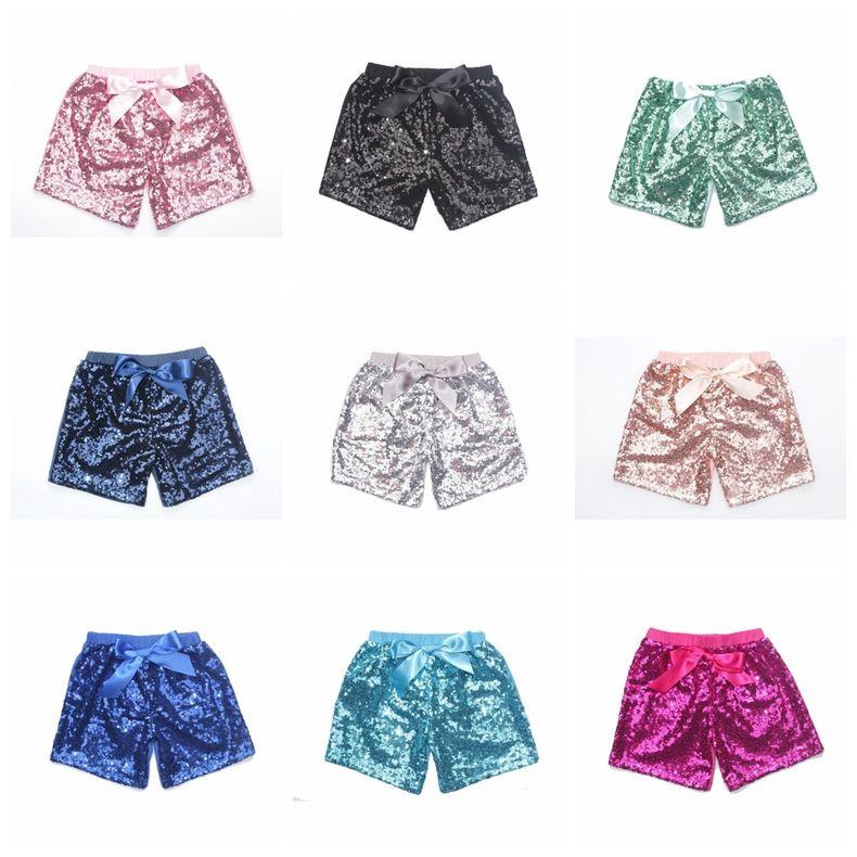 Baby Sequins Shorts Pantalons d'été Girls Glitter Blod Dance Sequin Costume Glow Bowknot Court Mode Boutique Pantalons YL621