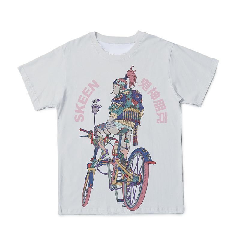 2021 T-shirt 3d verano fantasma punk hombres ropa muchacha impresión de dibujos animados pareja camiseta blanca t shirt o-cuello grande tamaño 110-6xl