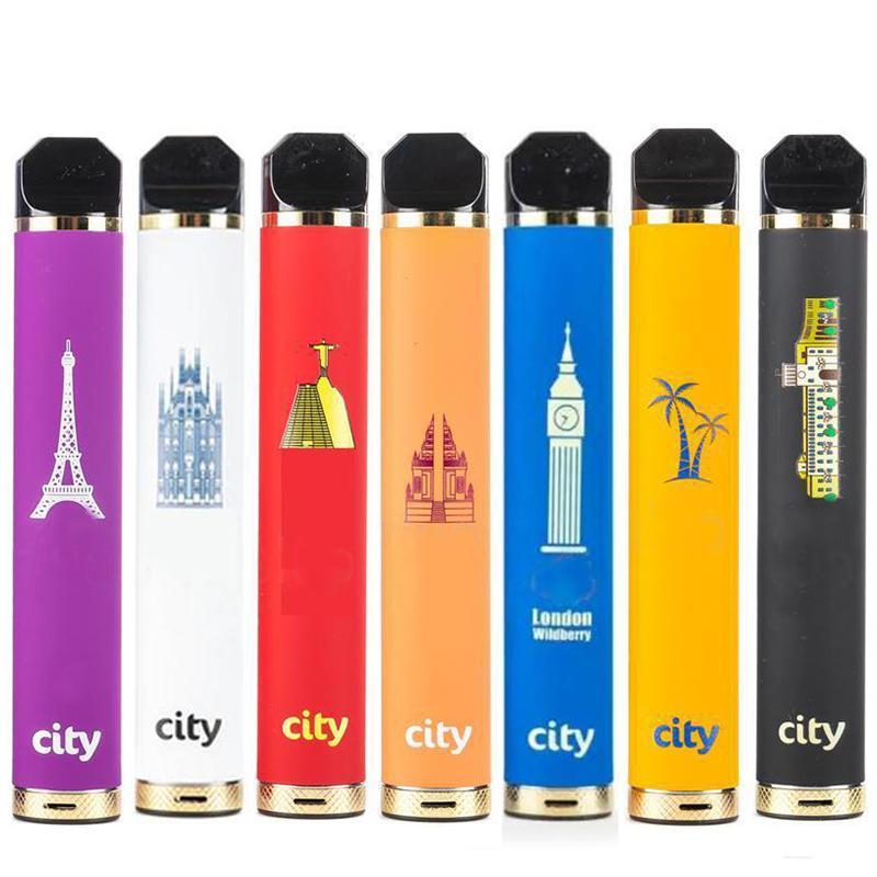 City 1600 Puffs Одноразовые электронные сигареты Vape Pen Starter Наборы 1200 мАч Батарея 5.5 мл Заполненный испаренный испаритель VS Flow Tank Flum