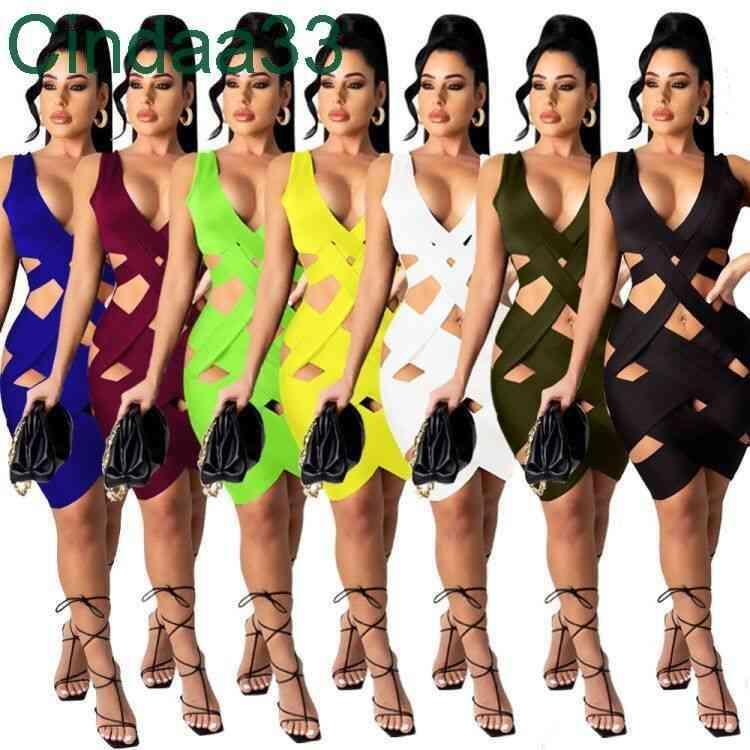Kadın Elbiseler Desigenr Etek Yırtık Seksi Kolsuz Katı Renk V Boyun Ince Bodycon Yaz Örgü Giysileri 2021