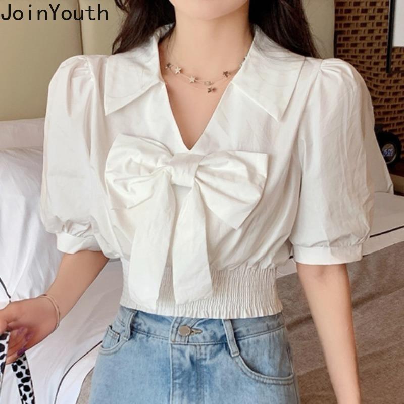 JoinTouth Coreano Bow Breve Donne Camicette Sexy Solid V Collo V Estate Blusas Mujer Puffio a manicotto a maniche corte Tops Tops New J1071 210423
