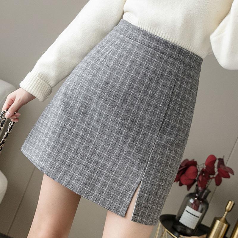 JXMYY Retro Autunno e Inverno La versione coreana della vita alta era sottile gonna di lana di lana di lana di plaid selvatico femminile 210412