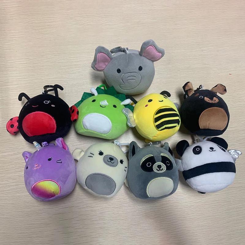 Squishy 10cm Plüsch Spielzeugkissen Keychain Cartoon Gefüllte Tiere Kaninchen Krabbenbiene Butterflies Koala Triceratop Weiche Spielzeug Weihnachtsgeschenke für Kinder