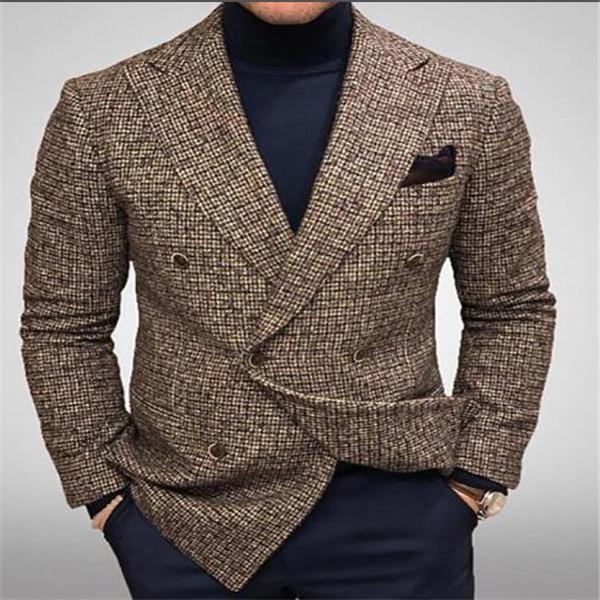 2021 Giacca di commercio estero americano europeo in stile cross-border stile caldo abbigliamento da uomo nuovo plaid business casual tuta giacche tuta sportiva cappotti