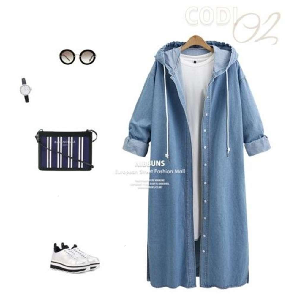 Women's Jackets coats Wind 2021 spring and autumn fashion Korean large loose single breasted hooded medium length denim jacket for women ND45