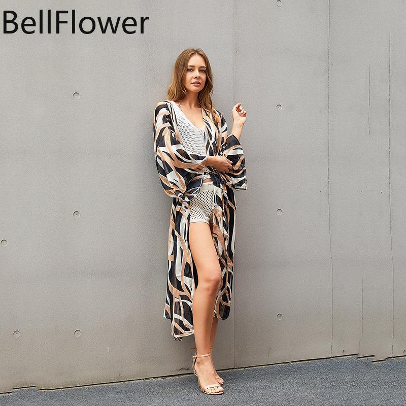 Swimwear feminino 2021 Blusa de biquíni leopardo Ver através do vestido Bandage solta sol proteção respirável confortável praia de férias