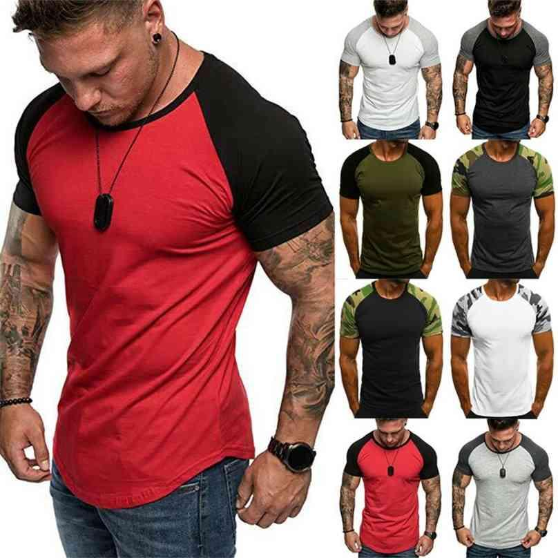 Mens Muscle T-Shirts Summer Short Sleeve Tee Jersey Athletic Gym Slim Fit Tops 210726