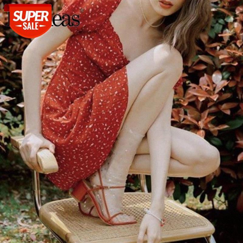 Chic deux boutons Vestidos Fashion Robe à manches courtes Vintage Robes d'été Vintage Femmes rouges # QH7C