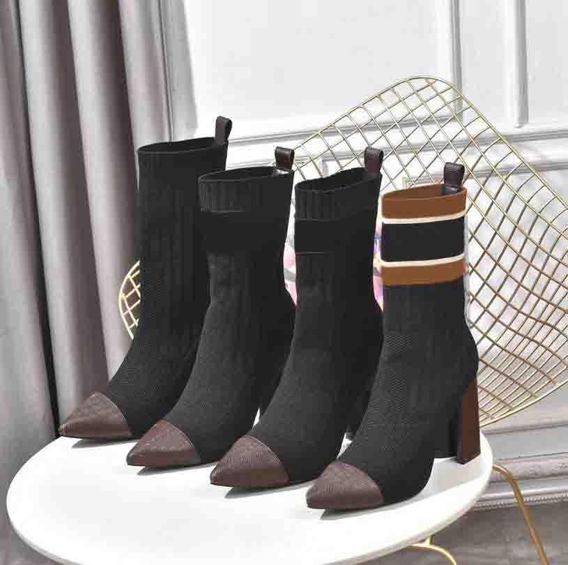 Носки сапоги дизайнер осень зима обувь вязаные эластичные засыпания роскошные сексуальные женщины на высоком каблуке обувь большой размер 35-41-42