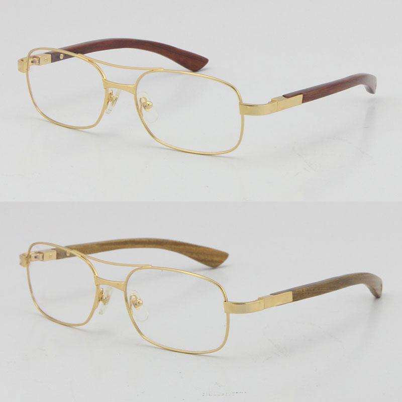 도매 18K 골드 나무 안경 프레임 금속 사각형 5046683 나무 안경 C 장식 남성과 여성 혼합 안경 그라디언트 렌즈