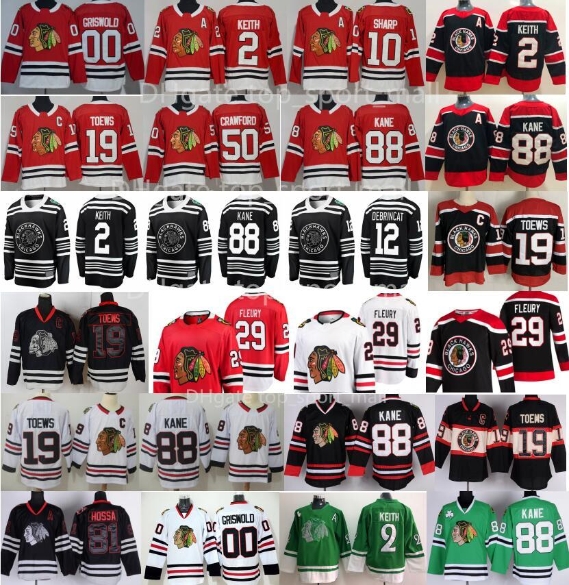 Retro Retro Chicago Blackhawks Jersey Hockey 29 Marc-Andre Fleury 2 Duncan Keith 19 Jonathan Toews Patrick Kane Crawford Alex Debrincat Kirby Dach Clark Griswold