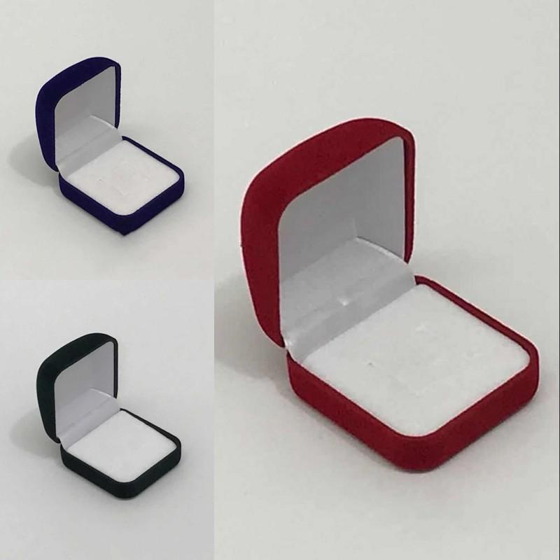 Fashion Small Red Black Blue Velvet Blocked Jewelry Package Box Case Insert Ring Stud Earrings Storage Packaging Gift Boxes 32 W2