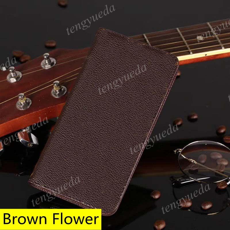 أزياء مصمم براون زهرة محفظة الحالات الهاتف لآيفون 12 11 برو ماكس xs XR XSMAX 7 8 زائد جودة عالية جلد بطاقة الجيب غطاء الهاتف المحمول الفاخرة