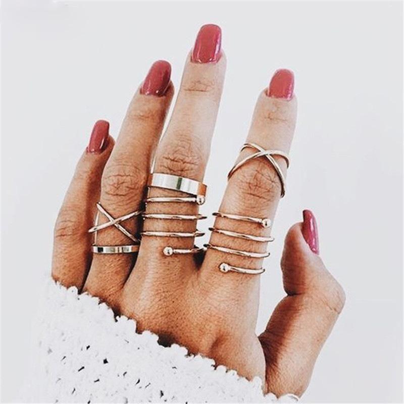 Gold Knuckle Combine el anillo de la banda de la banda de los dedos de los pies para las mujeres conjunto de joyería de moda