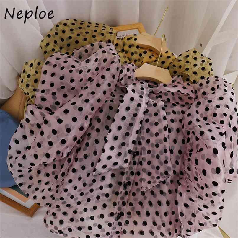 Arco colarinho ponto solto blusa mulheres puff manga longa estilo de trabalho ol blusas primavera camisa feminino outwear 210521