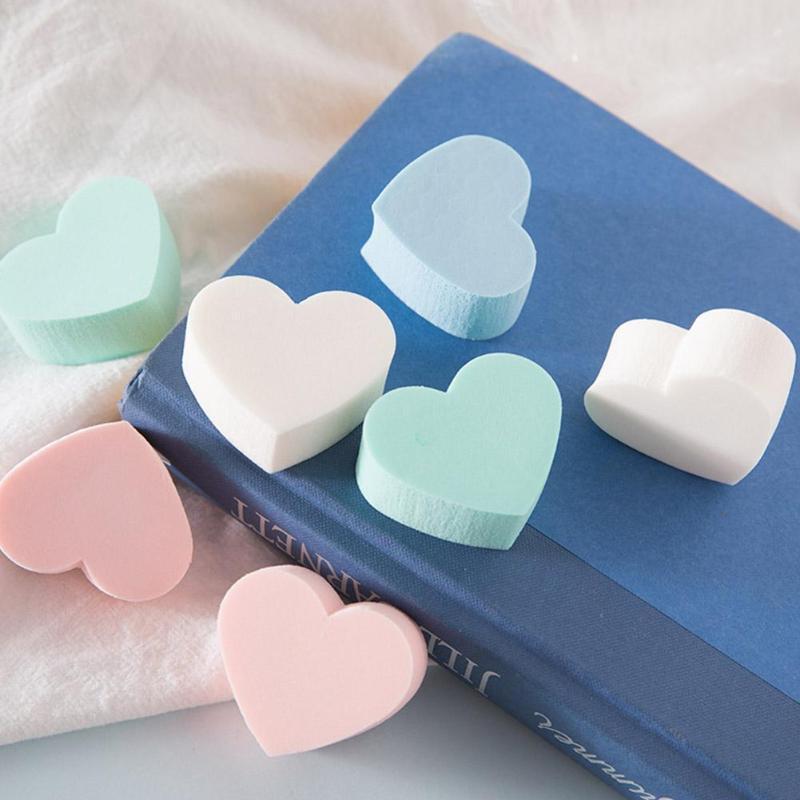 Губки, аппликаторы хлопчатобумажные 4шт / комплект в форме сердца слоеный макияж губка смешанные лица безупречный фундамент крем косметический порошок конфеты цвет