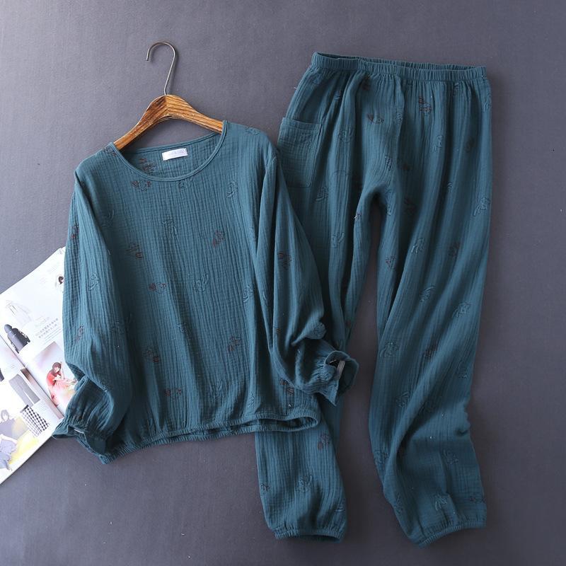 Damen Nachtwäsche Reiner Baumwolle Pyjamas Set Print Femme Langarm Hemd Hosen Winter Mode Lässig Kpacotakowka Frauen Homewear yo