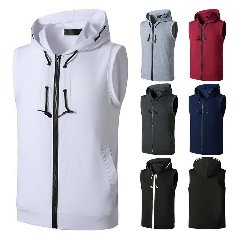 Trainingsanzug 2021 Sommer Herren Fitness mit Kapuze Weste Bodybuilding Muscle Sleeveless T-Shirt Cardigan Hoodie
