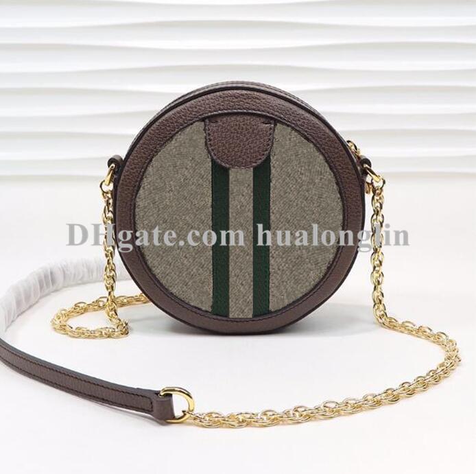 Pequeno bolsa redonda bolsa de mulher Cruz Cruz Genuine Couro Caixa Original Bolsa de Alta Qualidade