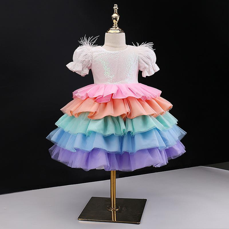 Girl's Dresses Baby Girls Dress Kids Clothes Children Clothing Wear Colorful Ballet Skirt Princess Tiered Skirts Birthday Party 3043 Q2