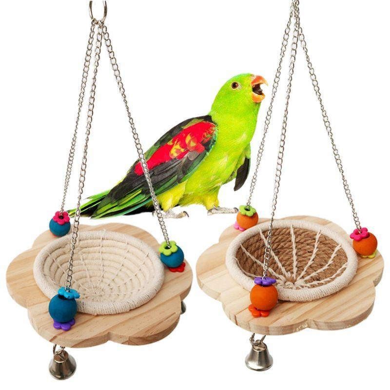 القطن حبل الطيور تربية عش شنقا الراحة السرير أرجوحة أرجوحة لعبة الكناري فينخ طنبير صغير الببغاء صغير قفص الفقس مربع C42 أقفاص
